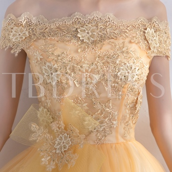 A-Line Off-the-Shoulder Appliques Beading Bowknot Homecoming Dress