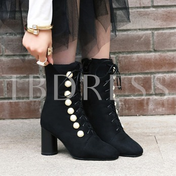 Cross Strap Thick Heel Pearl Women's Ankle Boots