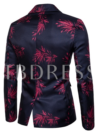 Notched Collar One Button Floral Printed Slim Fit Casual Men's Blazer