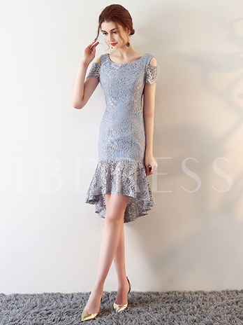 Sheath Lace Scoop Short Sleeves Zipper-Up Cocktail Dress