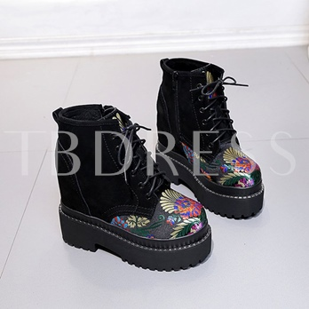 Embroidery Floral Height Increasing Women's Platform Boots