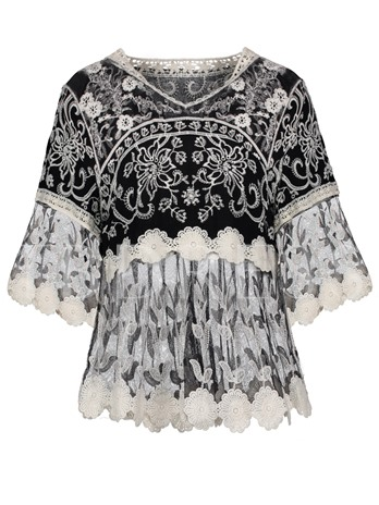 Embroidery Mesh Sheer Floral Women's Blouse