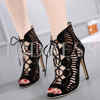 Black Suede Boots Hollow Peep Toe Women's Shoes
