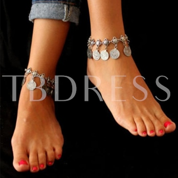 Coin Design Tassel Hollow Out Anklet