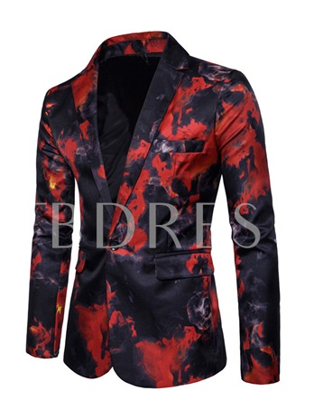 Notched Collar Paint Splatters One Button Slim Fit Men's Casual Blazer