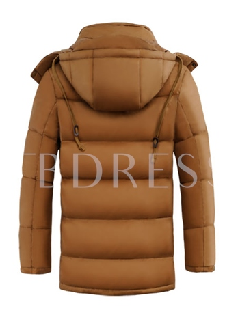 Hooded Long Pattern Solid Color Thicken Warm Men's Down Jacket