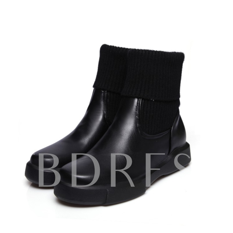 Plus Size Flat With Shoes Women's Solid Boots