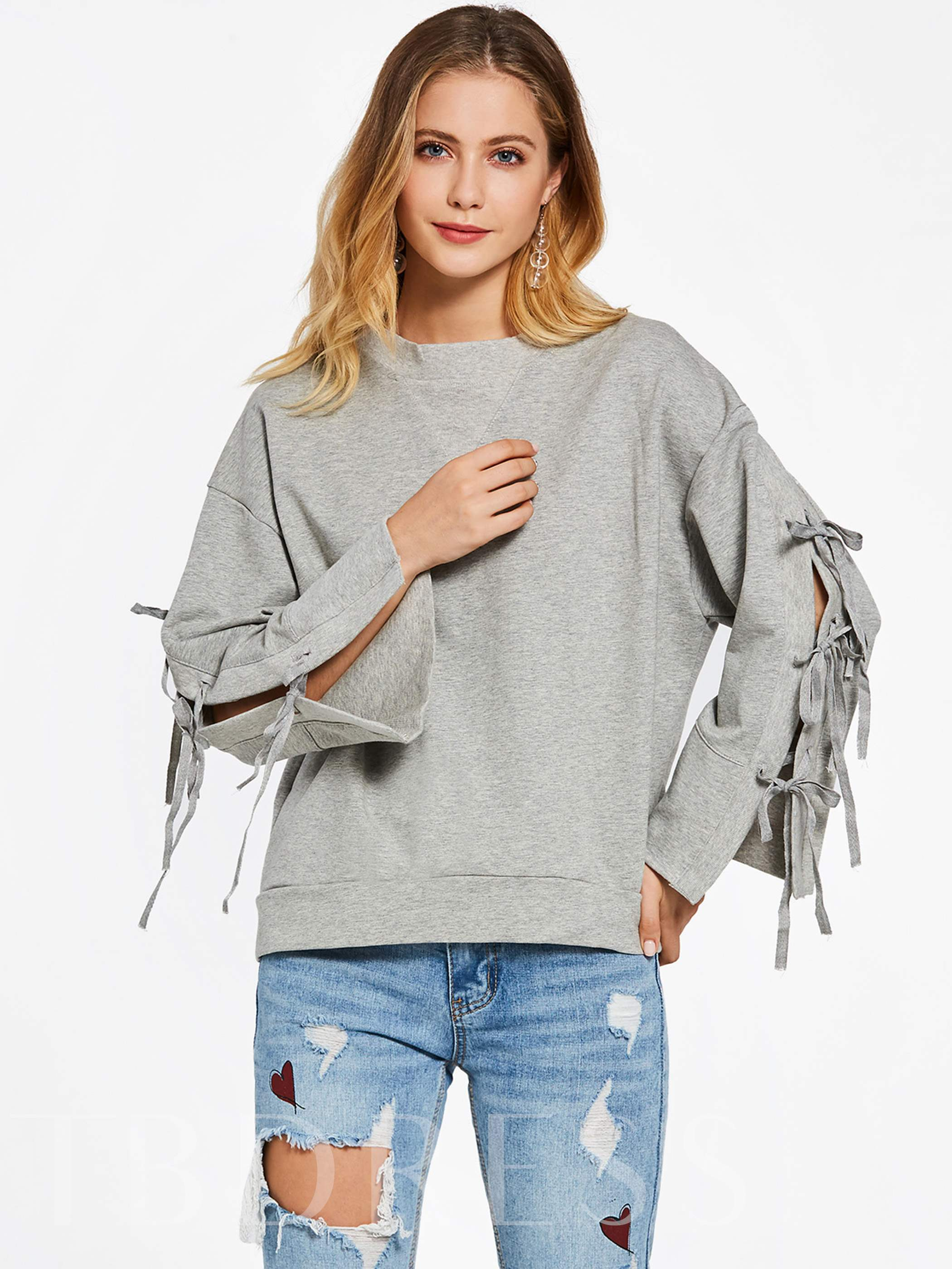 Buy Round Neck Tassels Pullover Women's Hoodie, Young17, 12995098 for $6.98 in TBDress store