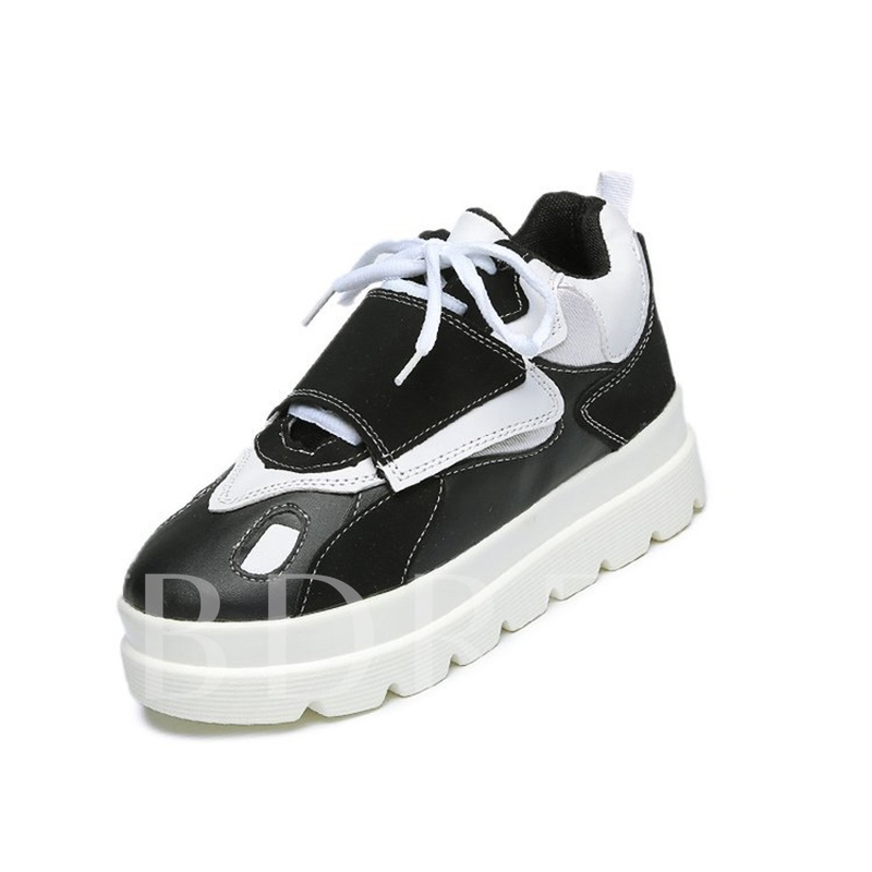 Color Block Cotton Lining Platform Sneakers for Women
