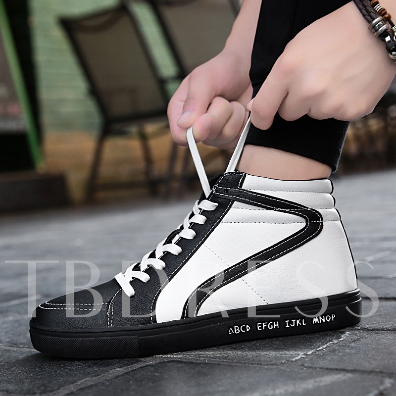 Color Block Lace Up Rubber Sole Thread Men's Shoes