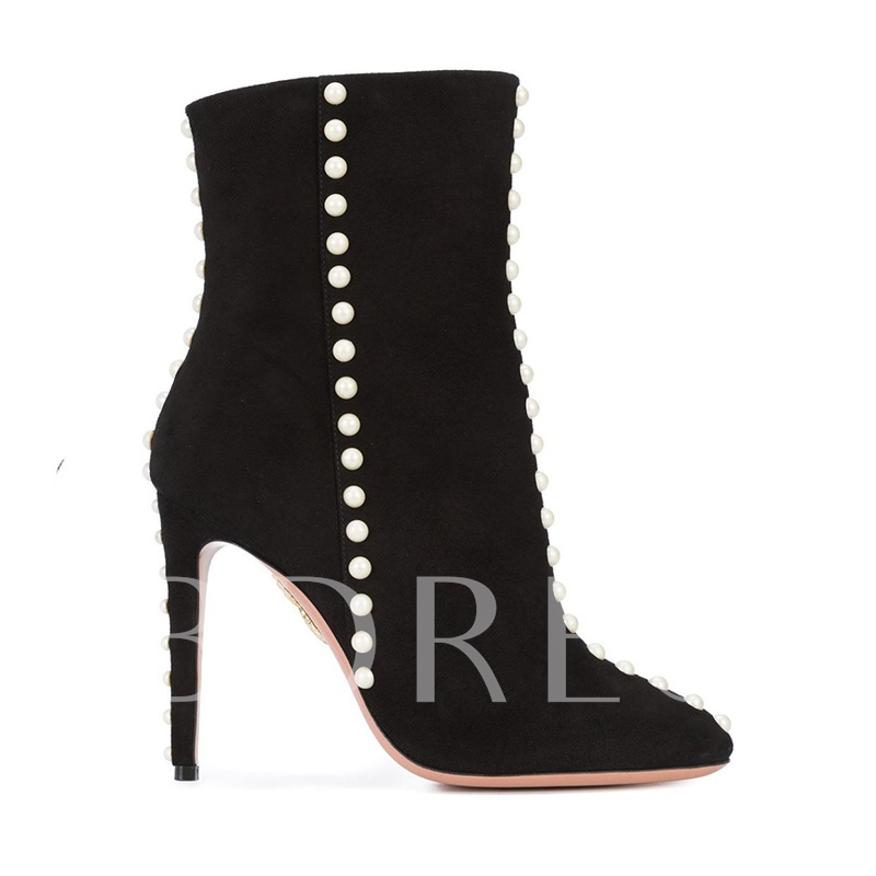 Plus Size Boots Pearl Side Zipper Women's Black Shoes