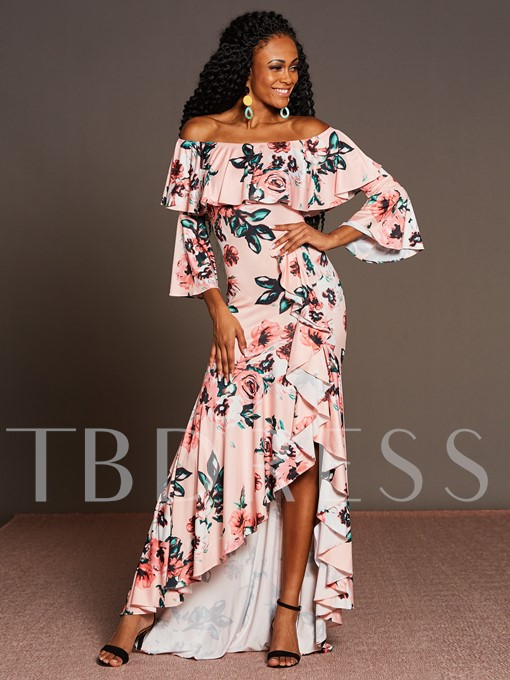 Pink 3/4 Sleeve Printing Women's Maxi Dress