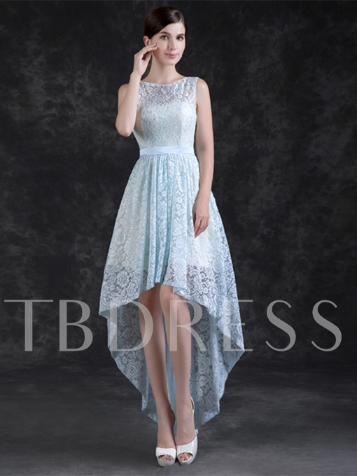 A-Line Lace Sashes Scoop Asymmetry Prom Dress