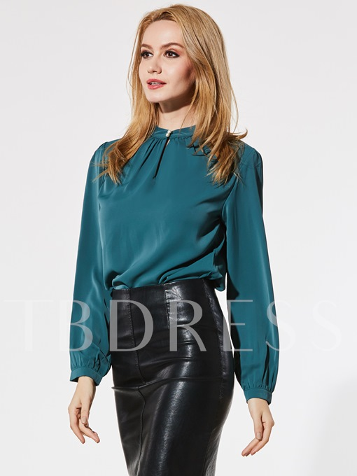 Chiffon Stand Collar Hollow Pullover Women's Blouse