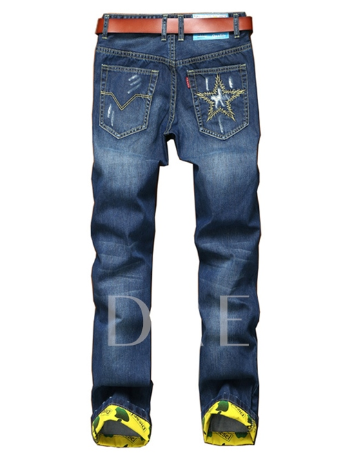 Mid Waist Embroidery Hole Straight Slim Fit Men's Fashion Jeans