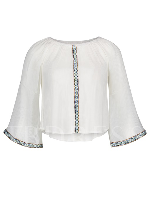 Embroidery Flare Sleeve Pullover Women's Blouse