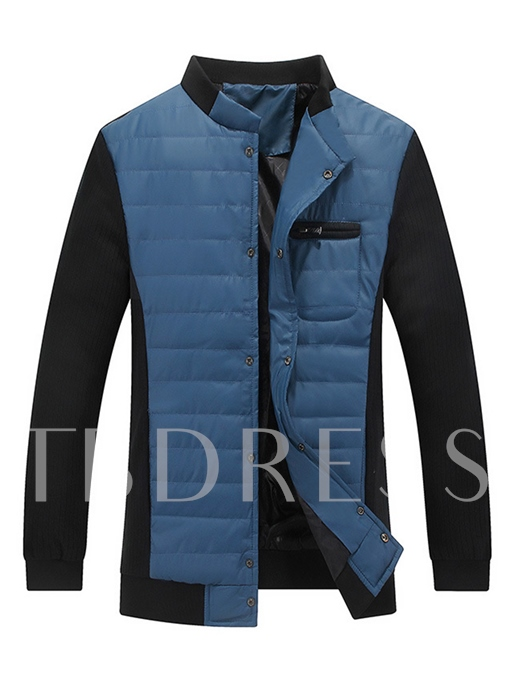 Stand Collar Knit Sleeve Patchwork Single-Breasted Slim Men's Jacket