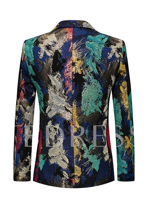 Notched Collar One Button Color Floral Printed Slim Fit Men's Blazer