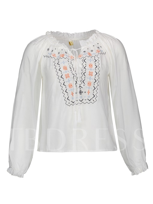 Floral Embroideried Falbala Lace-Up Women's Blouse