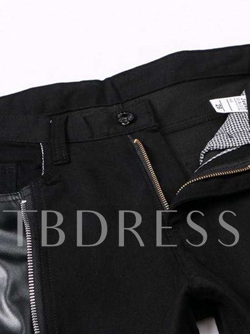 Punk Style Zipper Decorated Vogue Slim Fit Men's Casual Jeans