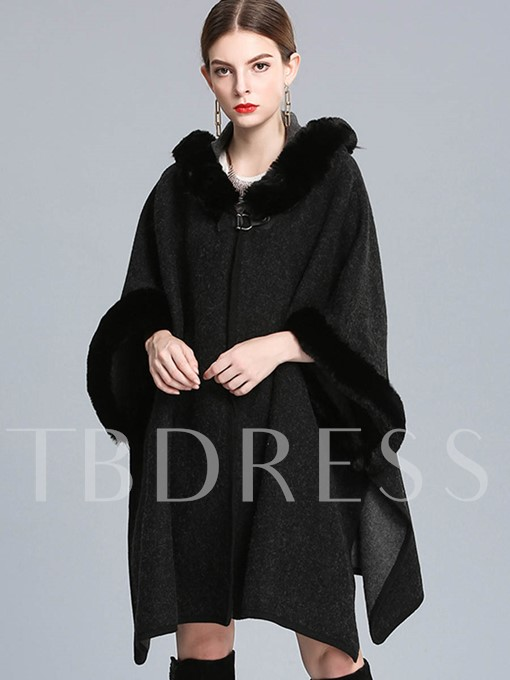 Chic Faux Fur Collar Woolen Cloth Loose Women's Cape
