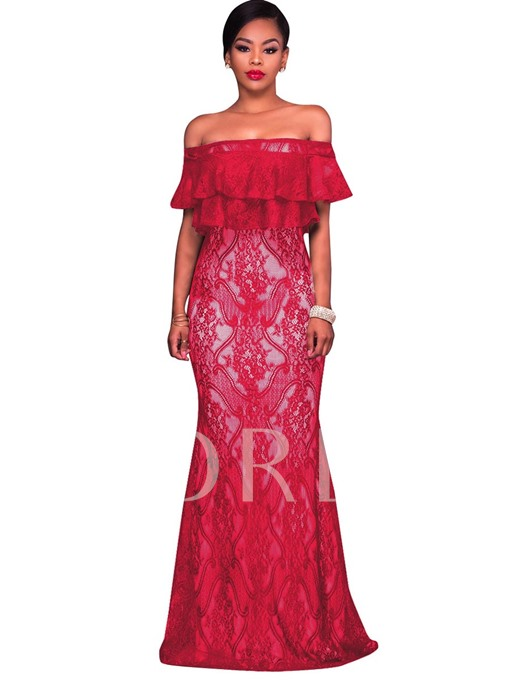 Red Lace Slash Neck Tiered Women's Maxi Dress