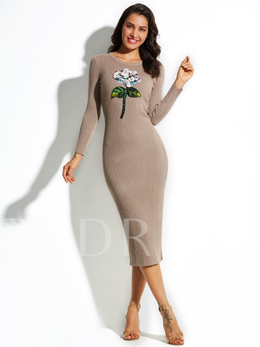 Round Neck Mid-Calf Sequins Vacation Women's Sweater Dress
