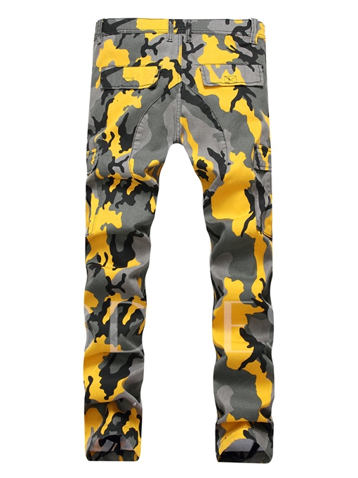 Mid Waist Color Camouflage Patchwork Straight Slim Fit Men's Fashion Jeans