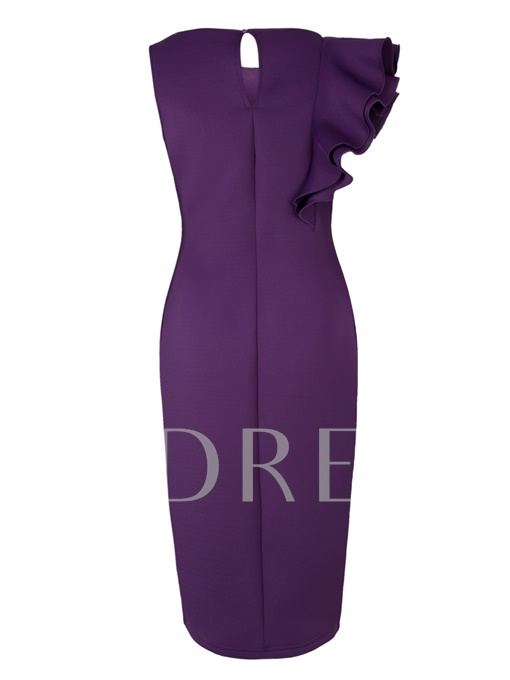 Purple Falbala Women's Bodycon Dress