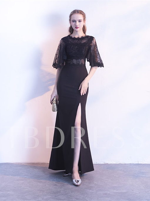 A-Line Half Sleeves Jewel Lace Split-Front Sweep Train Evening Dress