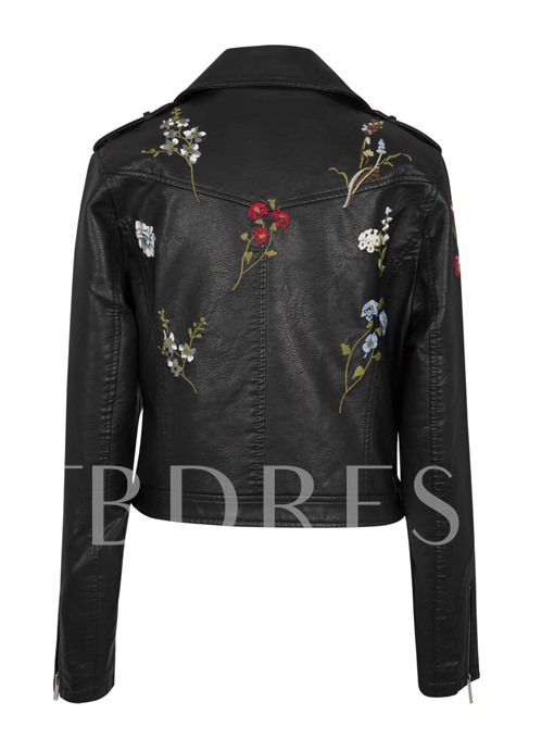 Lapel Side Zipper Floral Embroideried Women's PU Jacket