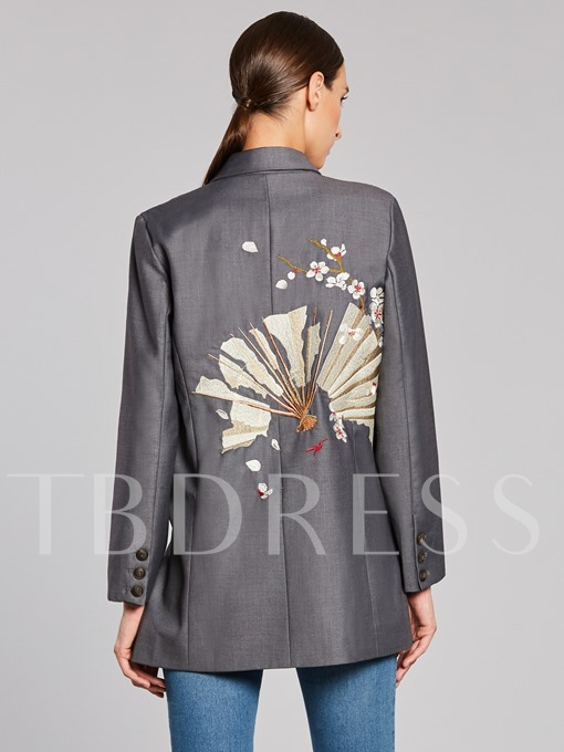 Lapel Floral Embroidery Back Loose Women's Blazer Coat