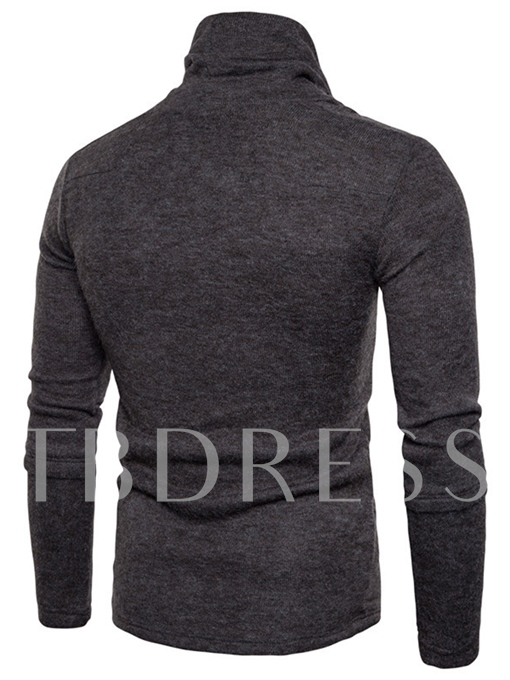 Heap Collar Plain Slim Fit Knit Men's Sweater