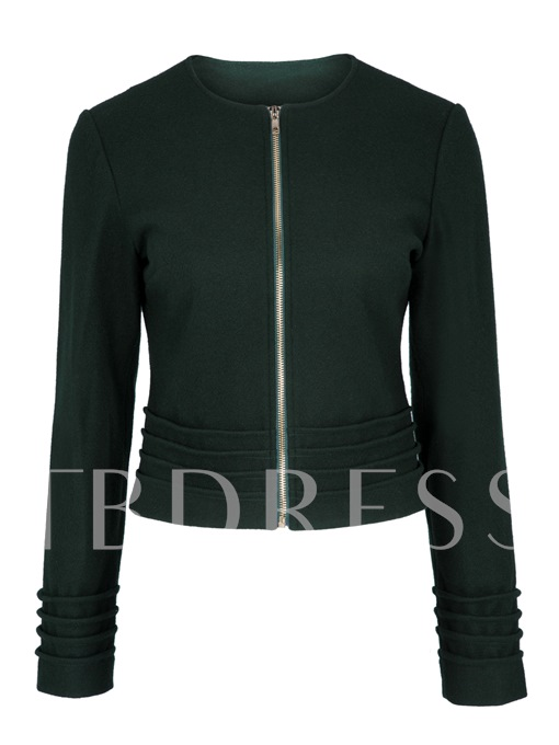 Zipper Plain Round Neck Pleated Women's Jacket