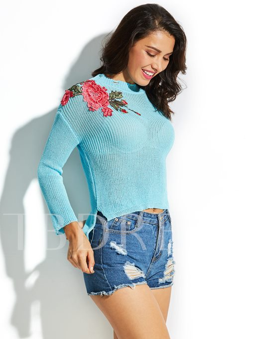 Round Neck Floral Embroideried Women's Vacation Sweater