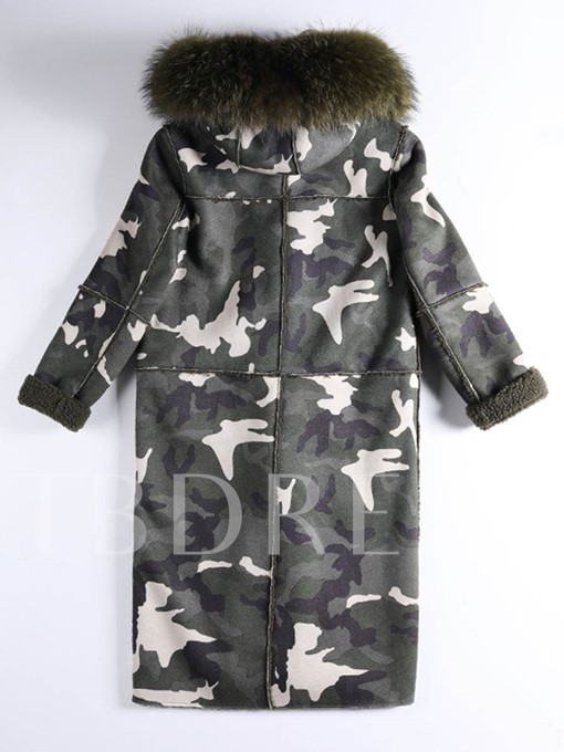 Long Army Camouflage Style Faux Fur Hooded Women's Overcoat