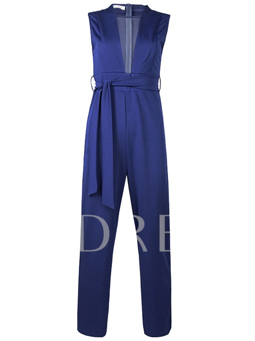 Plain Straight Lace-Up Zipper Women's Jumpsuits