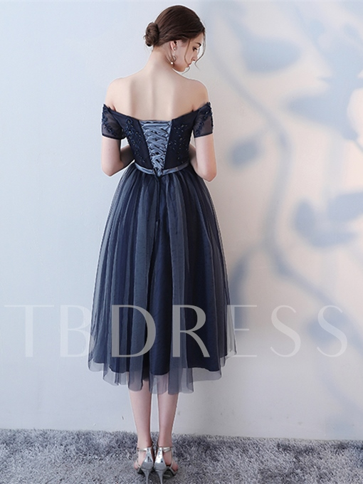 Beading Bowknot Sashes Tea-Length Prom Dress