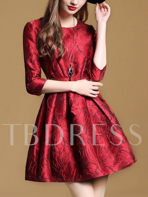 Half Sleeve Red Lace up Women's Day Dress