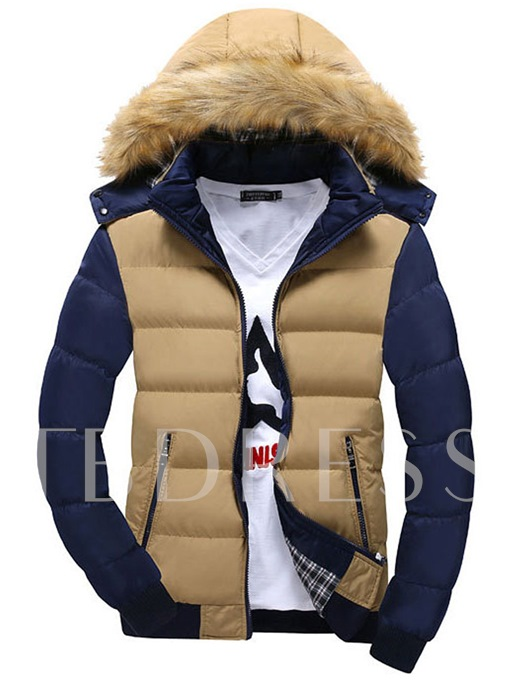 Faux Fur Contrast Color Men's Cotton Coat with Hat