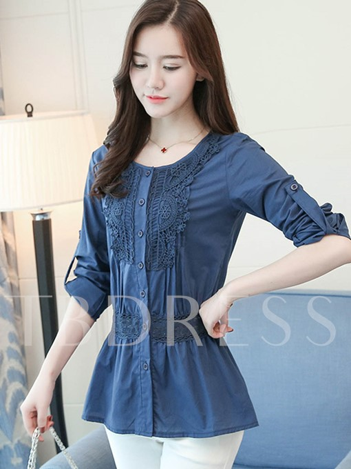 Lace Wrapped Hollow Patchwork Slim Women's Blouse
