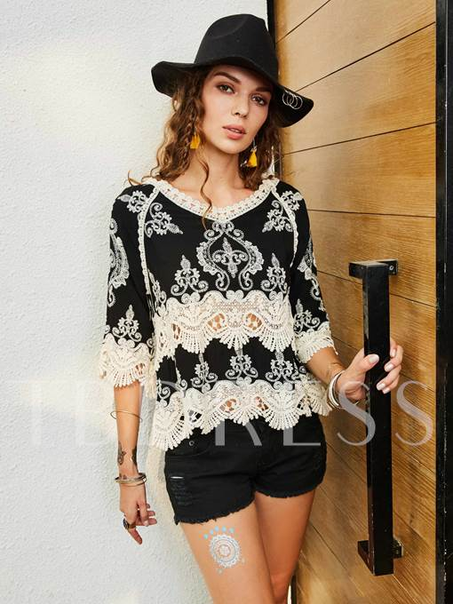 V-neck Slim Hollow Lace Patchwork Floral Embroidery Women's Blouse