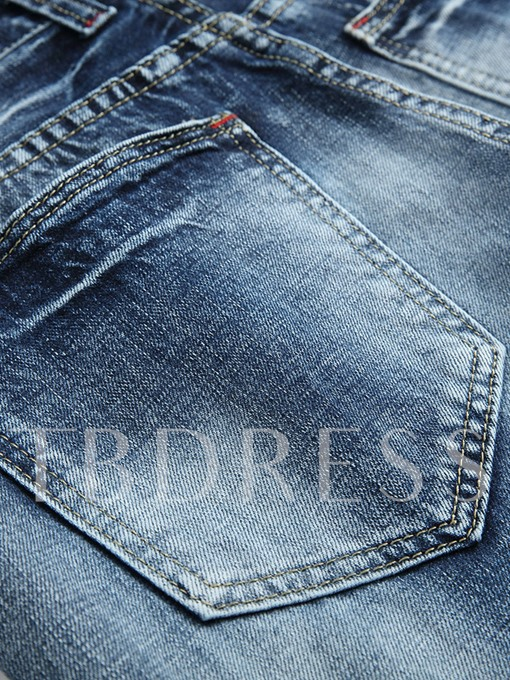 Mid Waist Hole Straight Slim Fit Men's Fashion Jeans