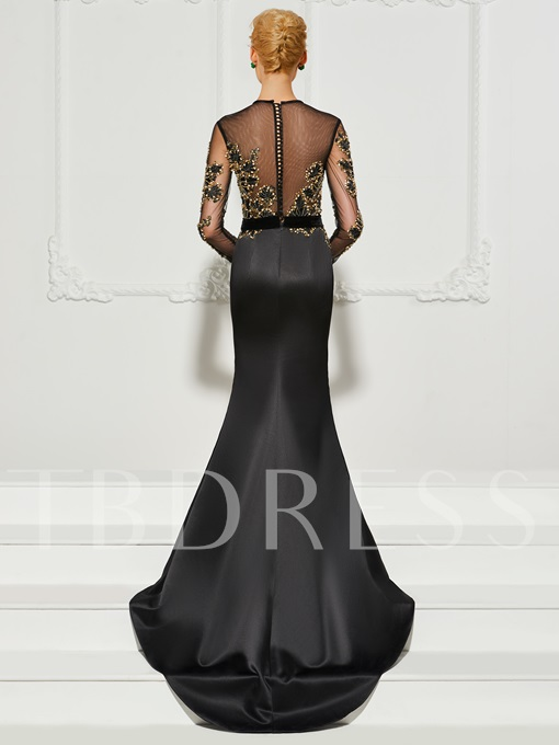 Long Sleeves Mermaid Appliques Beading Button Court Train Evening Dress