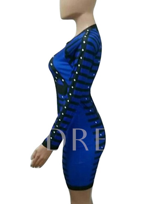 Long Sleeve Rivets Decorated Women's Bodycon Dress
