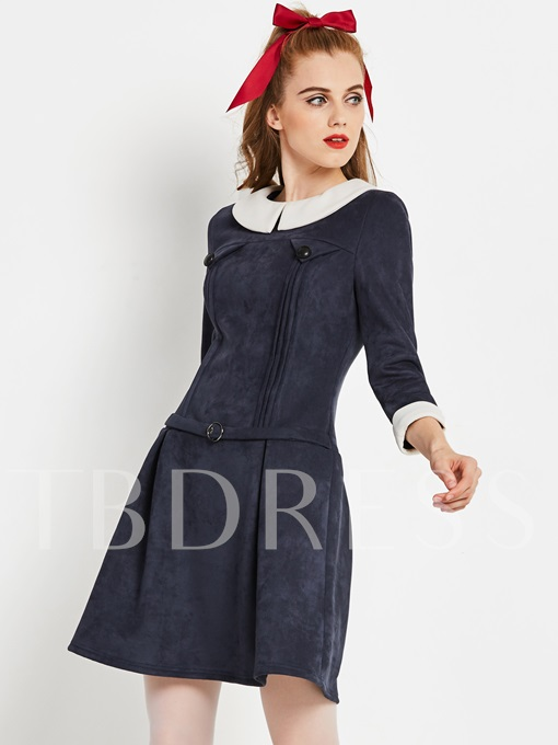 Dark Blue Peter Pan Collar Women's Day Dress