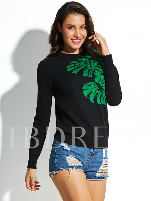 Round Neck Pullover Cotton Flower Knitted Vacation Women's Sweater