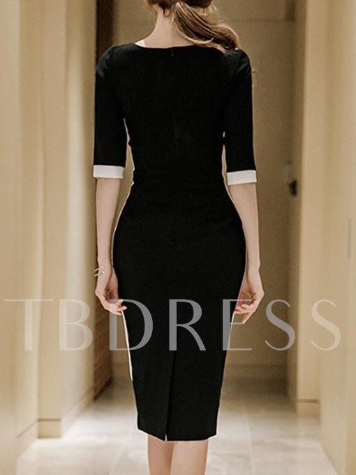 Black Half Sleeve Cuts-out Women's Sheath Dress