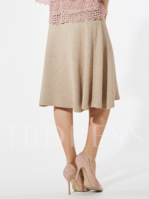 Plain A-Line Mid-Calf Khaki Women's Skirt