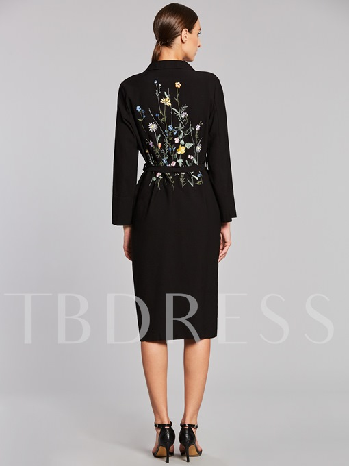 Floral Embroidery Lace-up Long Lapel Women's Trench Coat